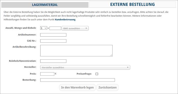 Screenshot: Externe Bestellung