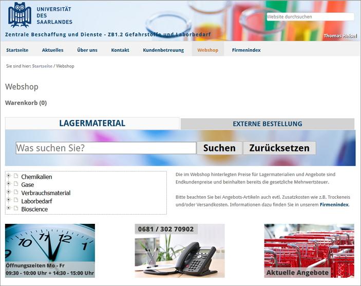 Screenshot Webshop Startseite