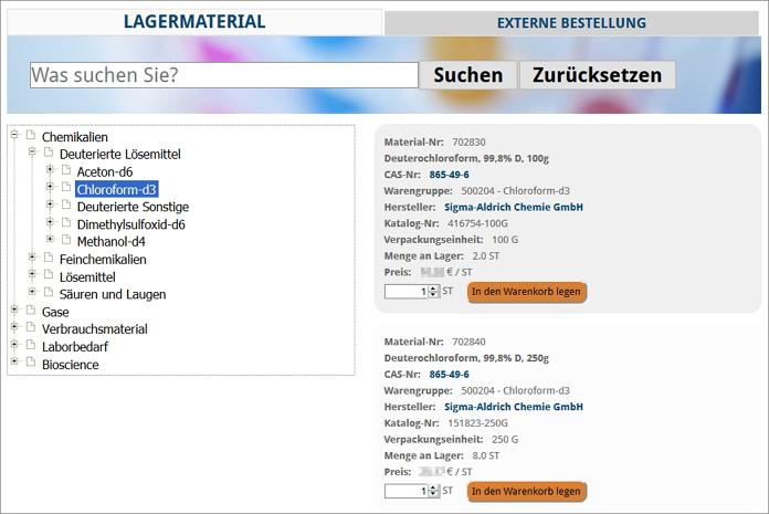 Screenshot: Kategorien und Warengruppen